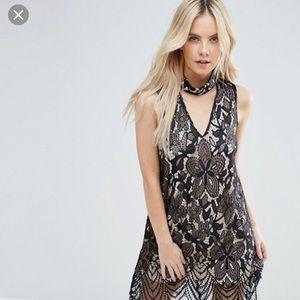 Parisian Petite Lace Dress With Cutout Neckline